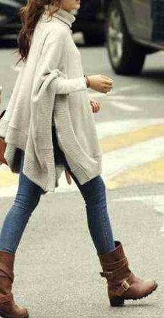 #winter #fashion / oversized knit + boots