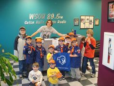Joseph and Cristofer Valentin, sons of Vittoria Valentin, '97, and Angelo Valentin, '99, and their Cub Scout Group tour the WSOU Studio.
