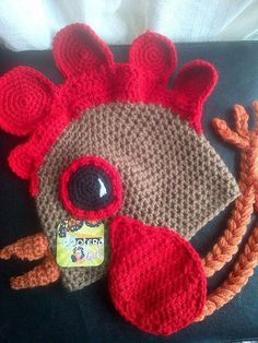 crochet rooster hat, pattern available thru craftsy