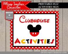 INSTANT DOWNLOAD Mouse Clubhouse Activities by DivinePartyDesign