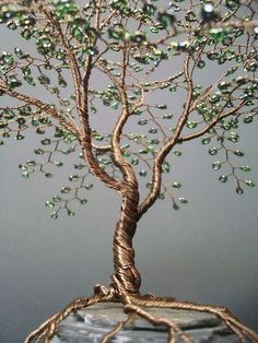 Metallic Olive Beaded Bonsai Wire Tree Sculpture