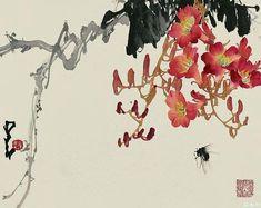 Flowers, trumpet vine -by Zhao Shao'ang Zen Painting, Japanese Painting, Chinese Painting, Japanese Art, Painting Prints, Pintura Zen, Chinese Artwork, Asian Art Museum, Tinta China