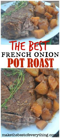 It is super sad that the photos of this French Onion Pot Roast didn't turn out better.  Because, this pot roast was quite amazing- if I say so myself. Here is why it turned out so well. 1). I used a good quality piece of meat. Honestly, I don't waste my time buying cheap meat. I don't buy expensive meat either. I look for good deals on good meat. ( otherwise, I might as well just make a meatless meal.)  What I have here is a tenderloinpot roast that I got on a good sale- right…