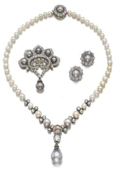 Natural pearl and diamond parure, late 19th century. Comprising: a necklace designed as a line of natural pearls of grey and cream tints, accented with circular-cut diamonds, suspending a drop-shaped natural pearl; a brooch of scroll design, brooch fitting detachable, hinged pendant bail to reverse; and a pair of earrings, post and butterfly fittings. #antique #necklace #brooch #earrings