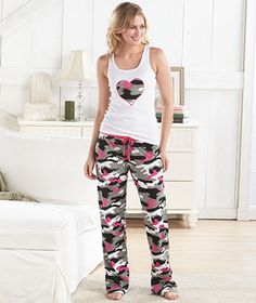 New~womens hot pink camo pajama lounge sleep fleece pants & tank ...