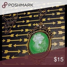 Steampunk Cameo Necklace Green / Antique Gold Jewelry Necklaces