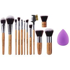 EMAX Design Makeup Brush Set, 12 Pieces Professional Bamboo Handle Cosmetics Brushes And 1 Piece Beauty Sponge Blender ** You can find out more details at the link of the image. (This is an affiliate link) #ToolsAccessories