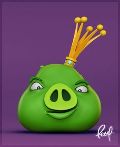 Echa un vistazo a mi proyecto @Behance: \u201cGreen Pig King. Bad Piggies. Render. Raul®\u201d https://www.behance.net/gallery/48799823/Green-Pig-King-Bad-Piggies-Render-Raul