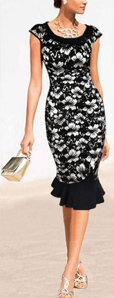 Floral Ruffle Bodycon Dress ❤︎