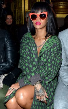 Rihanna, and her funky shades, attend Stella McCartney's show during Paris Fashion Week.