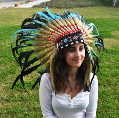 Indian Light Blue / Turquoise  and dark Feather Headdress / Warbonnet $45  www.theworldoffeathers.com