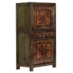 Beijing Teal Painted Cabinet. This lovely tall cabinet is in a distressed green lacquer, the two sets of doors and two shallow drawers that separate them each lacquered in soft cream and decorated with traditional Chinese painitings of flowers in green and pink. #TealCabinet #ChinesePaintedCabinet