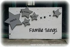 Türschild Familienschild Stern Sterne Shabby von Handgemachte Holzarbeiten & dekorative Geschenke by Alexandra Sangs auf DaWanda.com