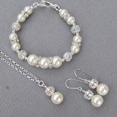 Sparkling Ivory Wedding Earrings, Bridesmaid Earrings, Wedding Party