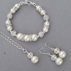 Ivory Pearl Wedding Jewelry Bridal Set, $70.00, via Etsy.