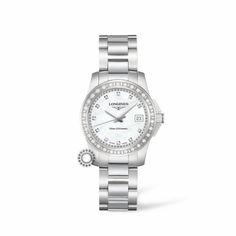 Γυναικείο ρολόι LONGINES Conquest Quartz L3.258.0.89.6 με ατσάλινο μπρασελέ, φίλντισι καντράν με διαμάντια, διαμάντια στη στεφάνη, ημερομηνία, αδιάβροχο στις 30 atm | Ρολόγια ΤΣΑΛΔΑΡΗΣ Χαλάνδρι #conquest #longines #ρολόι #διαμάντια