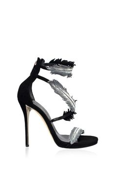 c3bfad09b00 Aliah Wrap Around Black And Metallic Silver Sandal by Oscar de la Renta for  Preorder on
