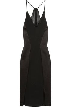 Black crepe, chiffon and satin Concealed hook and zip fastening at side  Fabric1: 75% triacetate, 25% polyester; fabric2: 100% polyester Dry clean Imported