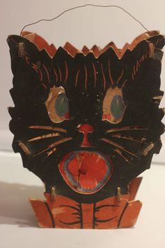 Vintage 40's Halloween Black Cat Lantern - just purchased this for my personal Halloween collection :)