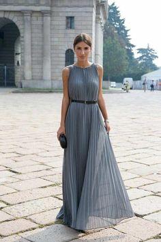 Street Style fashion: pleated grey maxi dress , black leather skinny belt