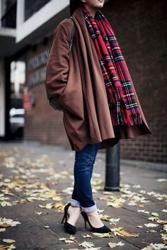 Oversized Coat, Camel, Plaid, Casual