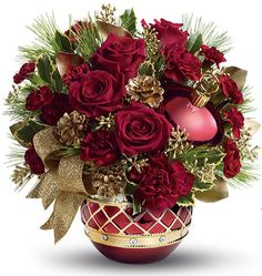 Teleflora, christmas centerpiece, holiday centerpiece, table centerpiece, holiday flowers, christmas flowers