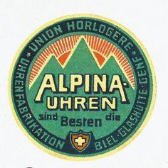 Union Horlogere- Alpina Uhren  Vintage label from Swiss watchmaker Alpina