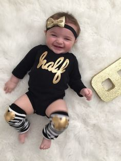 1/2 Birthday gold and black Bodysuit and gold heart by kakabaka