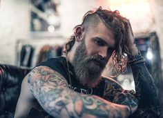 Josh Mario John - full thick blond beard mustache beards bearded man men mens' style long hair blonde tattoos tattooed viking handsome #beardsforever