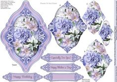 Hydrangea Clematis Diamond Shaped Pyramage Topper on Craftsuprint designed by Sandie Burchell - Beautiful Shaped Pyramage Topper with 3 Layers of Pyramage and choice of sentiment panels which includes: Happy Birthday, Especially For You! Happy Mother's Day or Blank for your own message. To search for more in this style click on my name and enter diamond pyramage topper in my search box. Please take a look at my other designs by clicking on my name. - Now available for download!