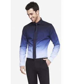 Mens Limited Edition Fitted Ombre 1mx Shirt from EXPRESS on Catalog Spree