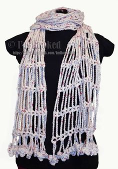 Ravelry: Drop Chain Shawl pattern by Anabelle Andes-Tracy Crochet Chain Scarf, Crochet Shawls And Wraps, Crochet Scarves, Crochet Yarn, Crochet Clothes, Free Crochet, Crochet Vintage, Crochet Accessories, Couture