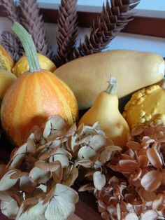 Centrotavola d'autunno con zucche e ortensie - Fall decorations with hydrangeas and pumpkins