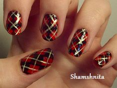 Today's Daily Nail Art is this plaid sweater inspired design by shamshnita. Why not warm up your fingers with a plaid sweater? With just the pattern down, you'll have one fancy nail art look. Plaid Nail Designs, Plaid Nail Art, Plaid Nails, Sweater Nails, Red Nails, Hair And Nails, Nail Art Designs, Plaid Design, Design Art