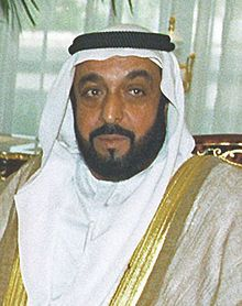 Khalifa bin Zayed bin Sultan Al Nahyan (Arabic: خليفة بن زايد بن سلطان آل نهيان; born 25 January 1948; referred to as Sheikh Khalifa) is the President of the United Arab Emirates and Ruler of Abu Dhabi. He succeeded to the position of Emir of Abu Dhabi on the moment of his father's death, after a royal family meeting, thereby becoming the President of the UAE the next day, 3 November 2004, taking rule over from his father Zayed bin Sultan Al Nahyan.