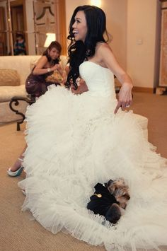 The puppy thought the wedding dress was a pillow/bed. I loved planning this wedding. Love the bride and the puppy. Maybe the ring bearer was just resting up for his big debut. Dog Wedding, Wedding Gowns, Dream Wedding, Wedding Day, Camo Wedding, Perfect Wedding, Wedding Pictures, Wedding Bells, I Dress