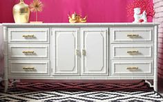 """This Dixie Faux Bamboo Dresser was refinished in Benjamin Moore's White Dove. This was a client owned refinish project that somehow got """"lost"""" in the mail Rooms To Go Furniture, Furniture Makeover, Mirrored Furniture, Furniture, Refinished Vintage Furniture, Faux Bamboo, Dump Furniture, Home Decor, High Gloss Furniture"""