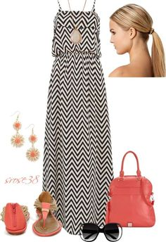 Fantastic maxi dress; great accent color