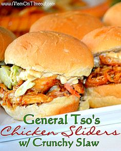 General Tso's Chicken Sliders with Crunchy Slaw - an easy dinner recipe or game day snack! | Mom On Timeout