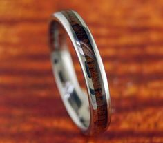 4mm Tungsten Carbide Koa Wood Band/Ring by Silvershowroom on Etsy, $40.00