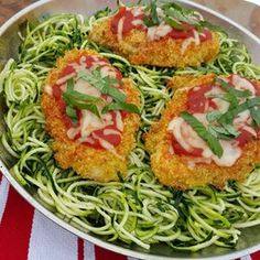 Quinoa Chicken Parmesan with Spiralized Zucchini Noodles | Clean Food Crush