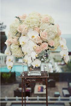 Decor  floral arrangement orchids roses Hydrangea pastel