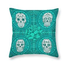 Sugar Skull Throw Pillow Skull Pillows Turquoise Teal Boho Chic ($20) ❤ liked on Polyvore featuring home, home decor, throw pillows, decorative pillows, grey, home & living, home décor, teal accent pillows, skull throw pillows y boho home decor