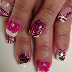 Metal Mulisha Maidens nails. Black, pink, & white.