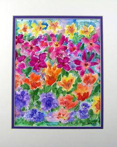 "Abstract Watercolor ""Unity in Diversity Flower Garden"" by pattysgardenstudio"