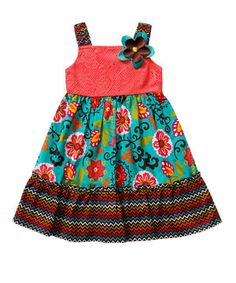 Youngland Teal and Pink Floral Babydoll Dress - Toddler & Girls by Youngland #zulily #zulilyfinds