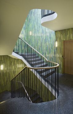Curved landing for a more organic flow of space Gallery of Hammam and Apartements in Patumbah-Park / Miller & Maranta - 7 Staircase Railings, Staircase Design, Stairways, Beautiful Architecture, Architecture Details, Interior Architecture, Miller Maranta, Concrete Facade, Space Gallery