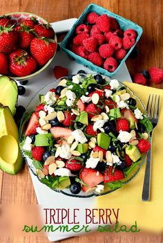 Hypoallergenic Pet Dog Food Items Diet Program Triple-Berry Summer Salad Includes Three Types Of Plump Berries, Creamy Avocado, Tangy Goat Cheese, And Crunchy Almonds. This Salad Is Unbelievable Yummy Recipes, Cooking Recipes, Healthy Recipes, Simply Recipes, Healthy Options, Vegetarian Recipes, Recipies, Dinner Recipes, Dessert Recipes