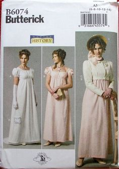 Jane Austin Costume Pattern. Butterick. Sz: 6-14.  SOLD    Jane Austin Dress Pattern. Regency Dress Pattern.New. Cheapest Shipping. by FashionSew on Etsy