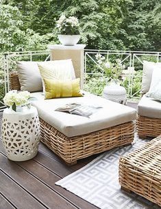 Hocker Viviana – Barbara Pena - New Deko Sites Outdoor Wicker Patio Furniture, Balcony Furniture, Rustic Furniture, Living Room Furniture, Home Furniture, Furniture Design, Outdoor Decor, Antique Furniture, Furniture Ideas
